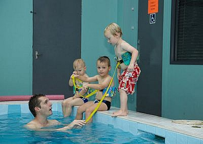 Kids Sitting On Edge Of Pool